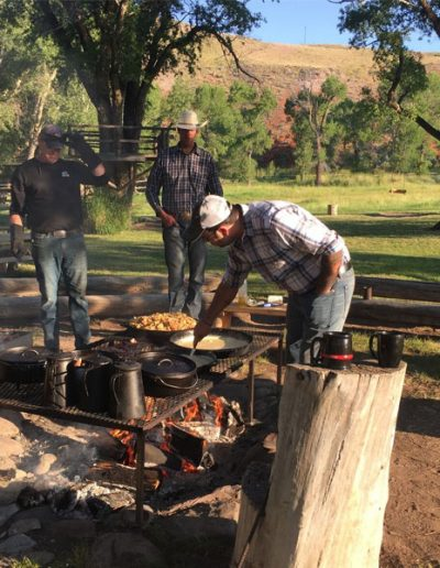 Chef Cooking Cowboy Breakfast on Campfire - Lazy L&B Dude Ranch Wyoming