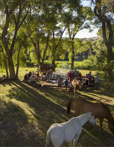 People gathered around a campfire with horses in the morning - Lazy L&B Dude Ranch Wyoming