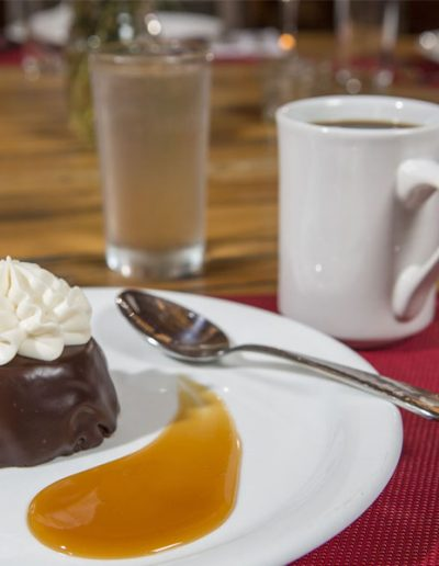 Decadent chocolate dessert with butterscotch - Lazy L&B Dude Ranch Wyoming